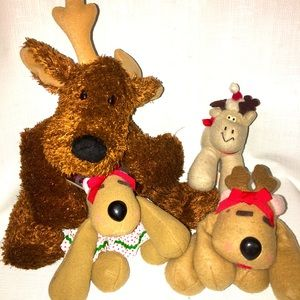 3 Vintage Hallmark Reindeer Plush Stuffed Lot
